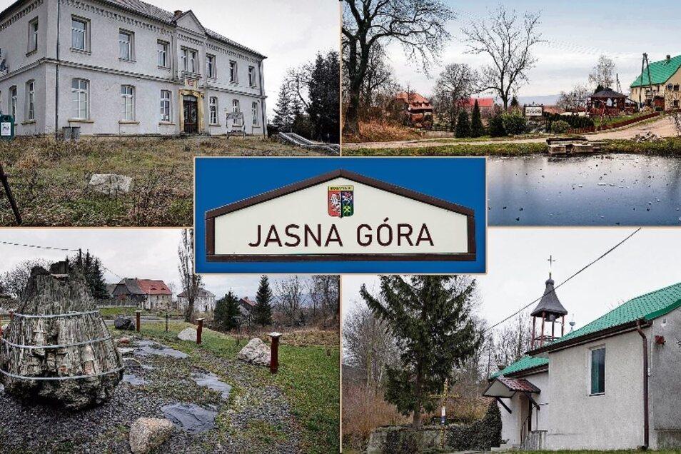 Die einstige Schule (oben links), der Dorfteich (oben rechts), der Findlingspark (unten links) und die Kapelle (unten rechts) prägen das Bild Jasna Góras.