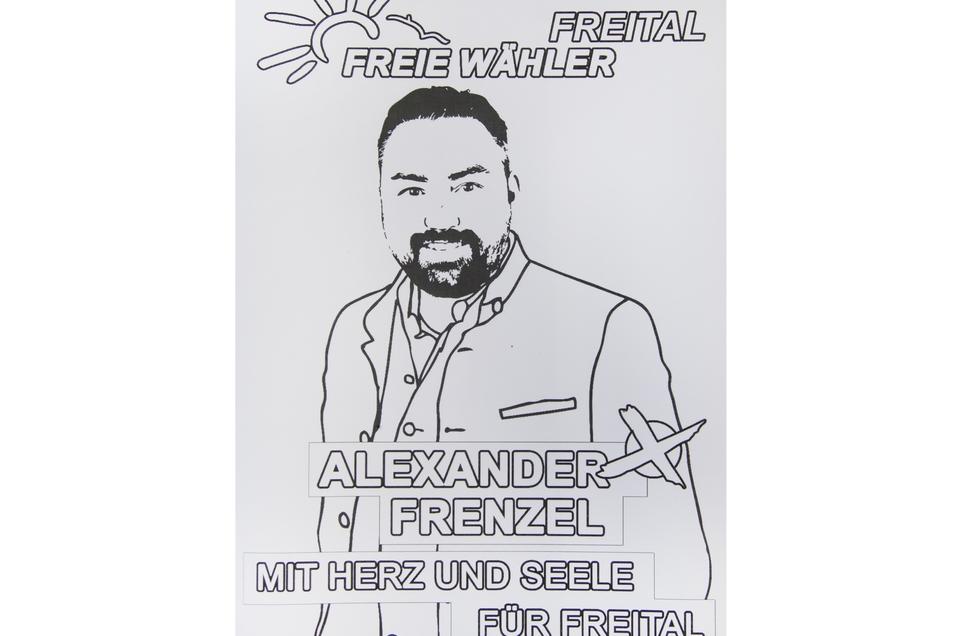 Ein Wahlplakat zum Ausmalen.