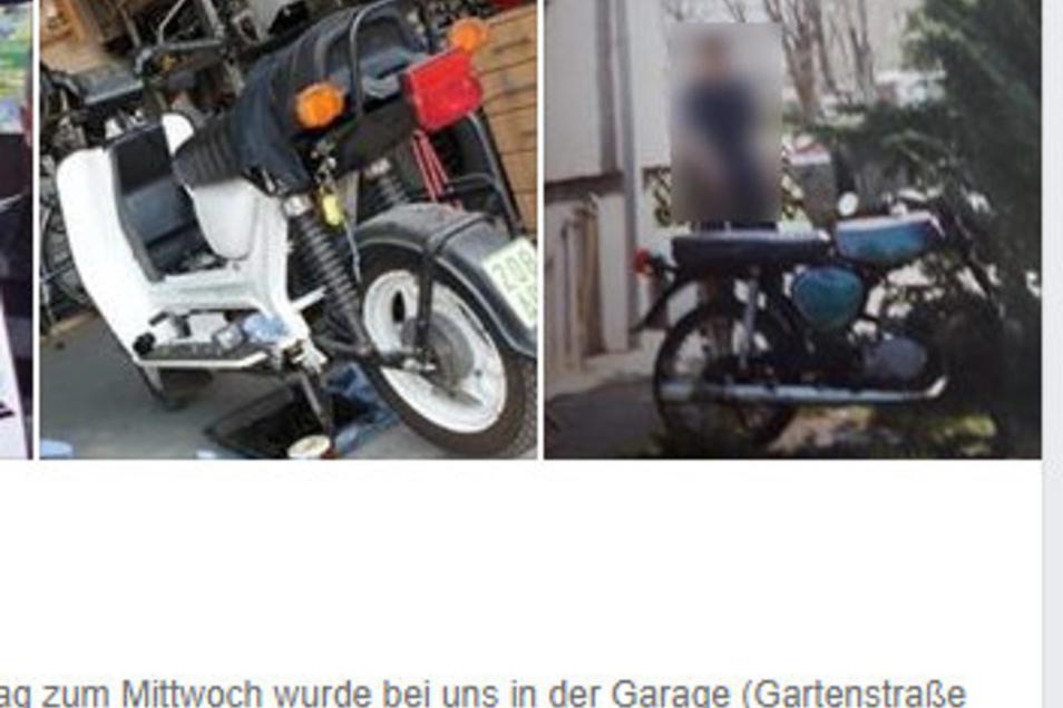 Zwei in Nünchritz gestohlene Mopeds werden im Internet über ein Soziales Netzwerk gesucht.