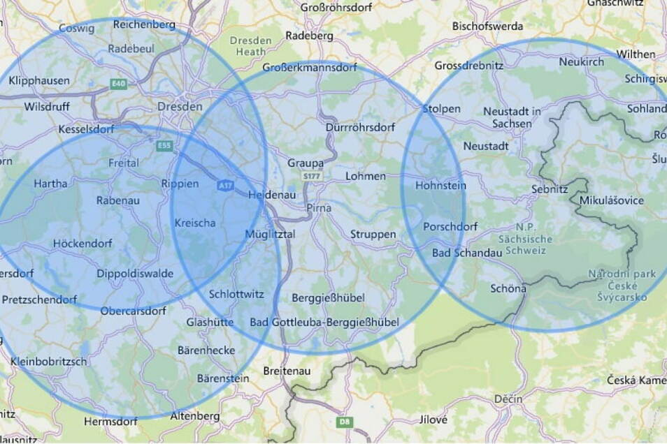 Der Onlinedienst Calcmaps zeigt den Radius für die Städte Freital, Dippoldiswalde, Pirna und Sebnitz.