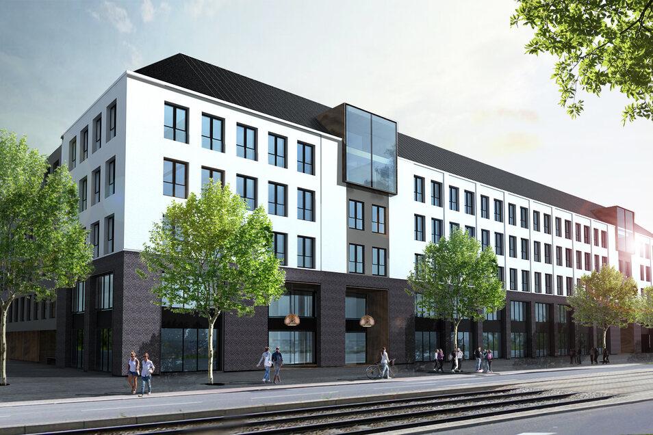 So wird der neue Bürokomplex aussehen, der Ende dieses Jahres fertig werden soll.