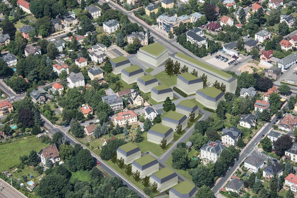 So sehen die ersten Bauentwürfe für den neuen Wasapark aus: Dort, wo jetzt der rote und der weiße Block stehen, kommen Mehrfamilienhäuser hin. Die Riesestraße wird als Rad- und Fußweg fortgesetzt.