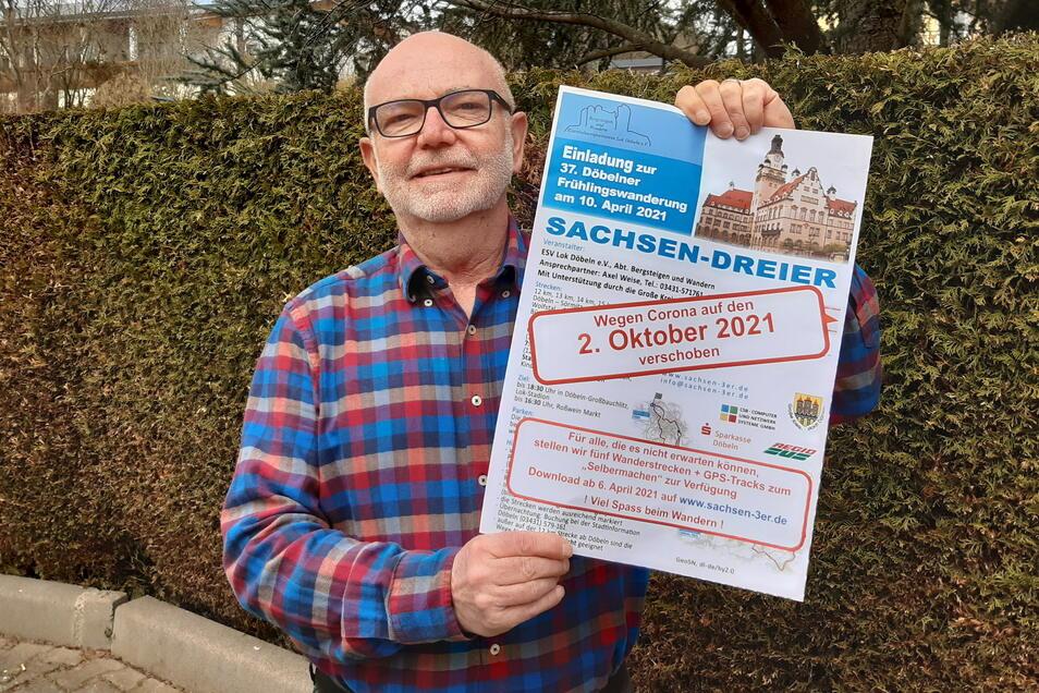 Die Frühlingswanderung Sachsen-Dreier muss erneut in den Herbst verschoben werden. Axel Weise zeigt das geänderte Plakat.