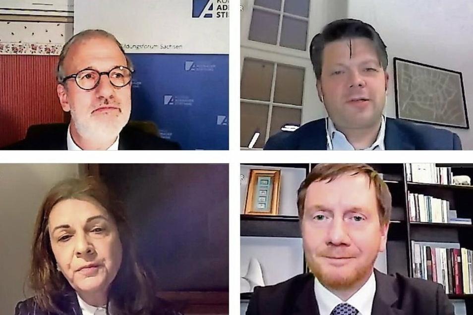 Vier der Online-Diskutanten: Joachim Klose von der Konrad-Adenauer-Stiftung (links oben), Zittaus OB Thomas Zenker (rechts oben), die Görlitzer Pflegeheim-Leiterin Bergit Kahl und Sachsens Ministerpräsident Michael Kretschmer.