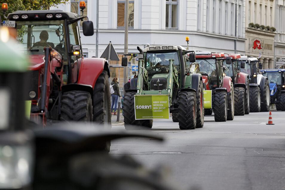 Kein Durchkommen: Bei der Bauerndemo durch Görlitz am 22. Oktober war in der Innenstadt kaum ein Durchkommen.