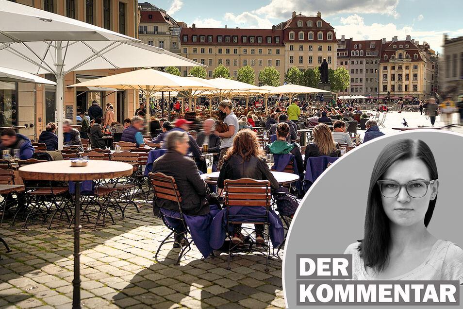 Jeder Sonnenstrahl wird genutzt: Nicht nur in Dresden kosten Menschen die neuen Gastro-Freiheiten voll aus.