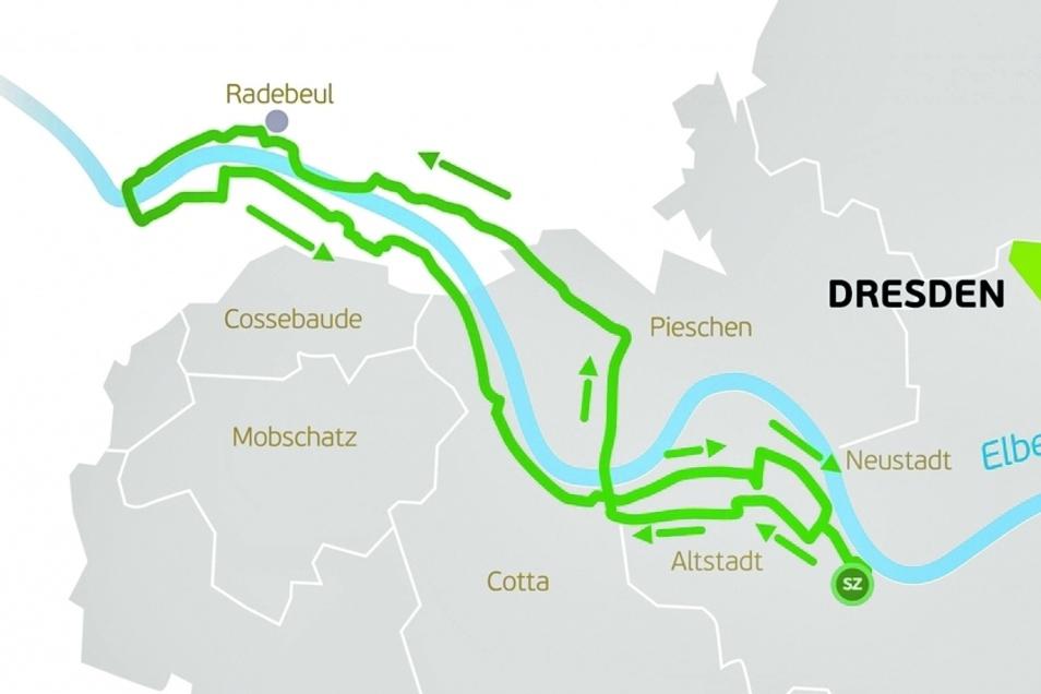 Kaum Anstieg und wunderschöne Landschaft. Die AOK-Plus-Tour führt vom Dresdner Zentrum nach Niederwartha und wieder zurück.