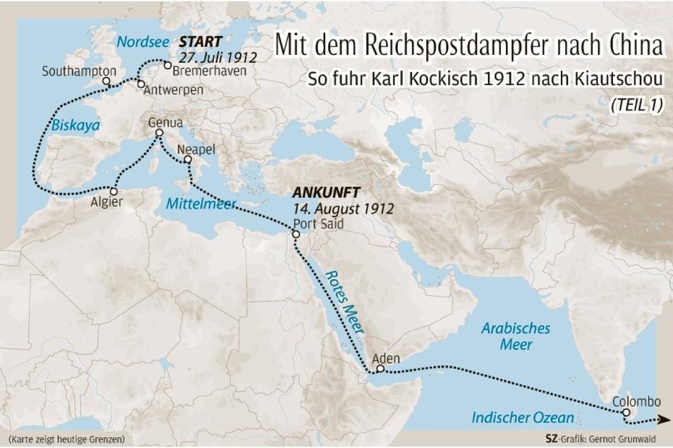 Zwischen Europa und Afrika: So begann Karl Kockischs Seereise nach Ostchina.