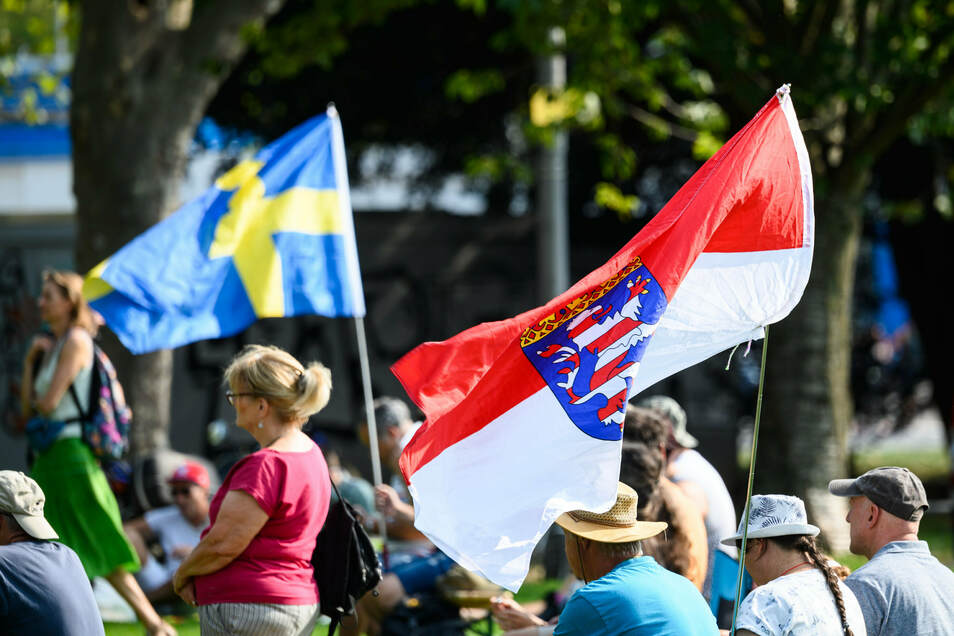 """Die schwedische Nationalflagge (l) und der """"Hessenlöwe"""" flattern bei der Kundgebung gegen die staatlichen Corona-Regeln im Wind."""