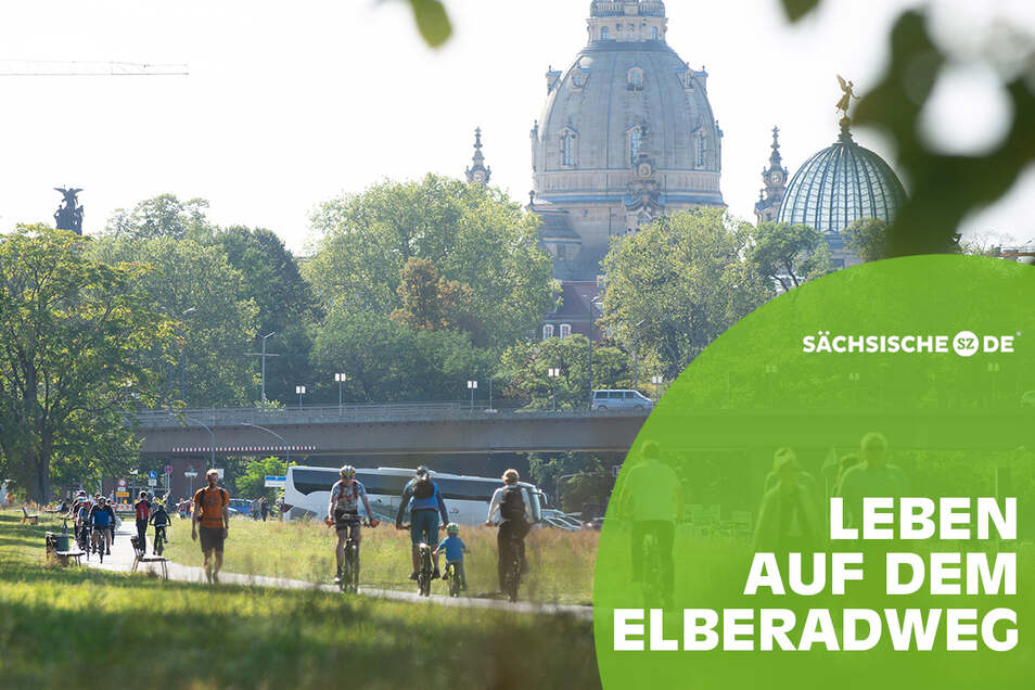 Dresdens Elberadweg zieht weit mehr an als nur Radfahrer. Auch für Sportler, Gewerbetreibende, Feierwillige und Familien wird er regelmäßig zum Mittelpunkt.