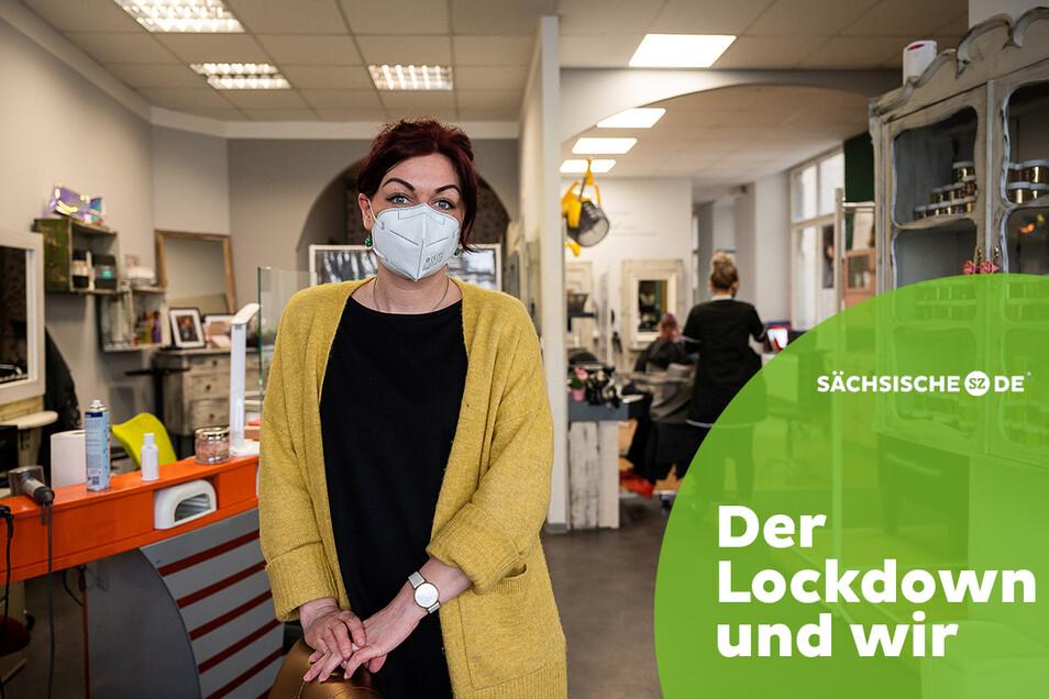 Mandy Krausen in ihrem Friseursalon in der Görlitzer Innenstadt, in dem sich auch ein Kosmetik- und Nagelstudio befindet.