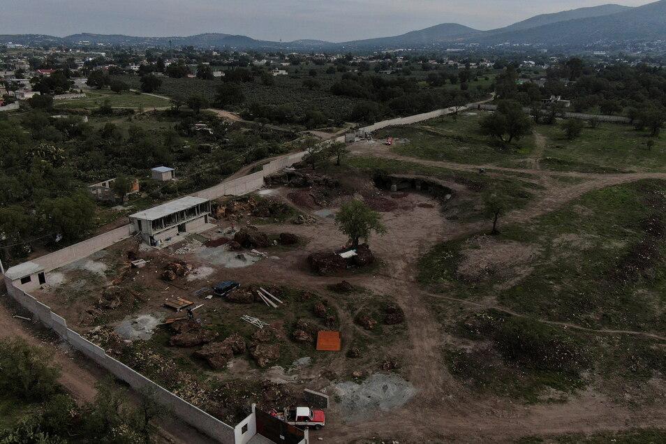 Ungenehmigte Bauarbeiten sind nahe der berühmten mexikanischen Ruinenstätte Teotihuacan zu sehen.