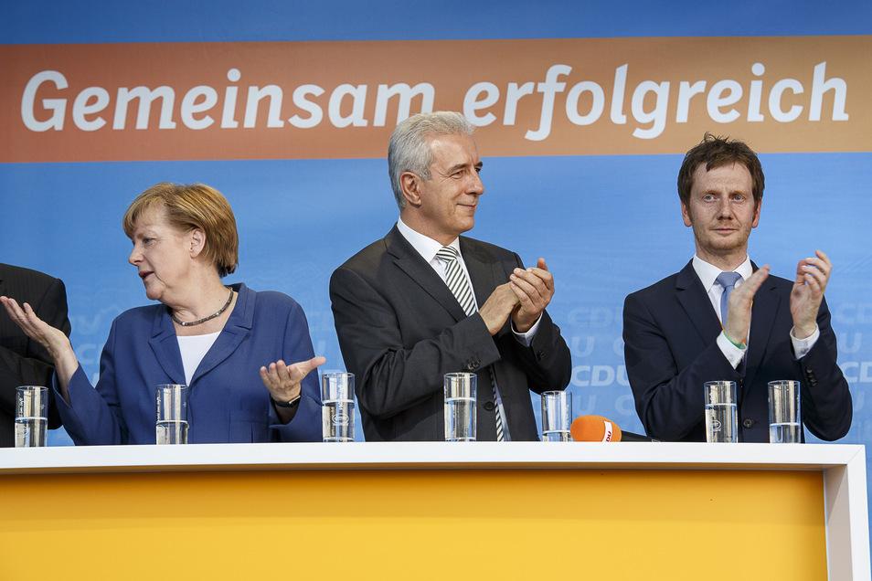 Wahlkampfauftritt der CDU zur Europawahl am 20.05.2014 in Görlitz mit Angela Merkel, Stanislaw Tillich und Michael Kretschmer (v.l.n.r.).