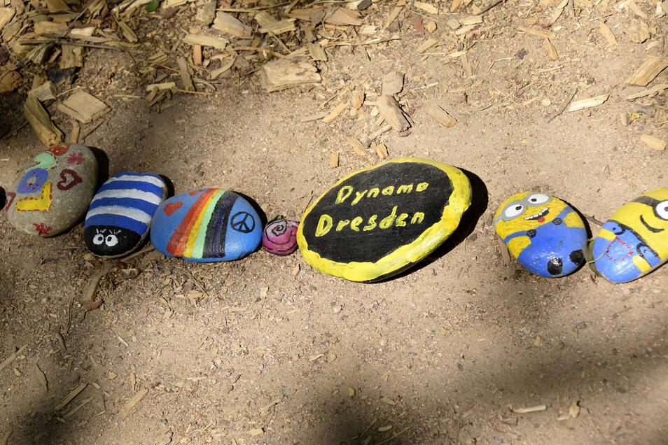Ob Dynamo Dresden oder die Minions: Dresdner Kinder hinterlassen im Waldpark mit den Motiven Dinge aus ihrer Lebenswelt.