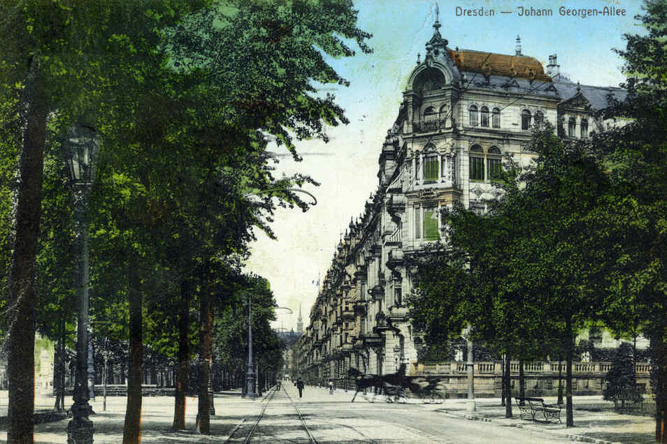 Straßenbäume sind auf dieser Postkarte aus dem Jahr 1910 an der Johann-Georgen-Allee zu sehen. Heute heißt die einstige Prachtstraße Lingnerallee.