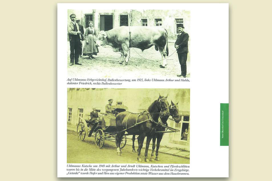 Eine Seite des Buches mit Dorfbildern aus dem vorigen Jahrhundert.