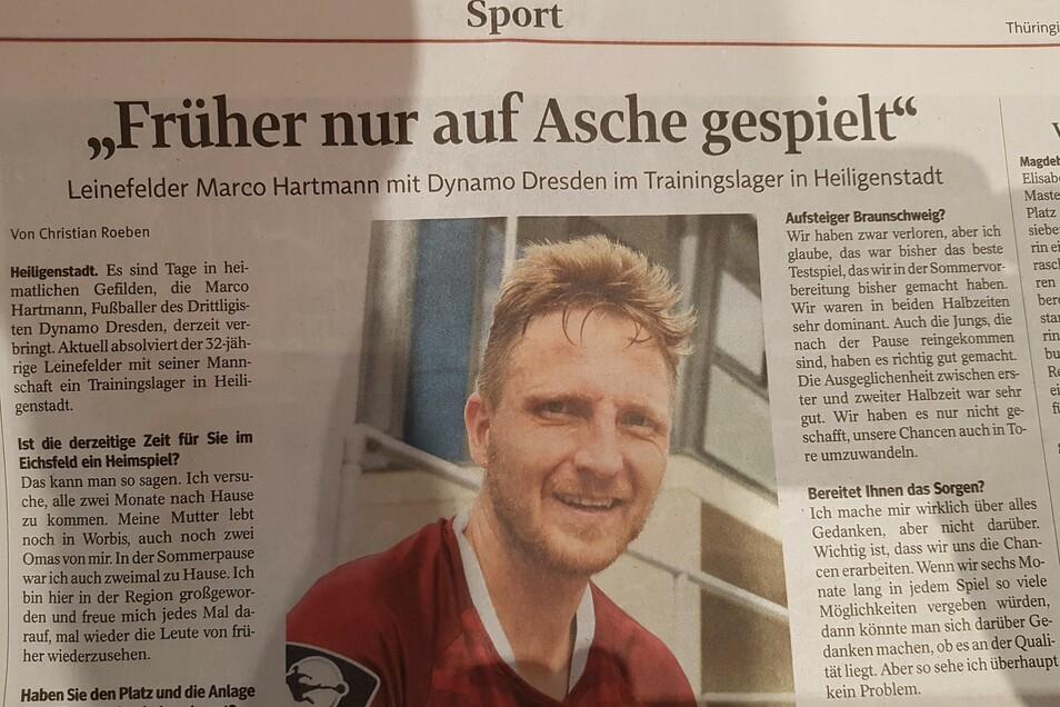 Im Interview mit der Thüringer Landeszeitung erinnert sich Marco Hartmann an seine Kindheit und Jugend im Eichsfeld.