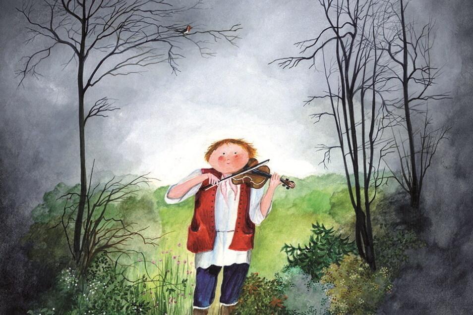 """Dieses Bild ziert die Vorderseite des Buches """"Kito und die Tanzfiedel"""". Es gehört zu den ersten, die Jutta Mirtschin illustriert hat."""