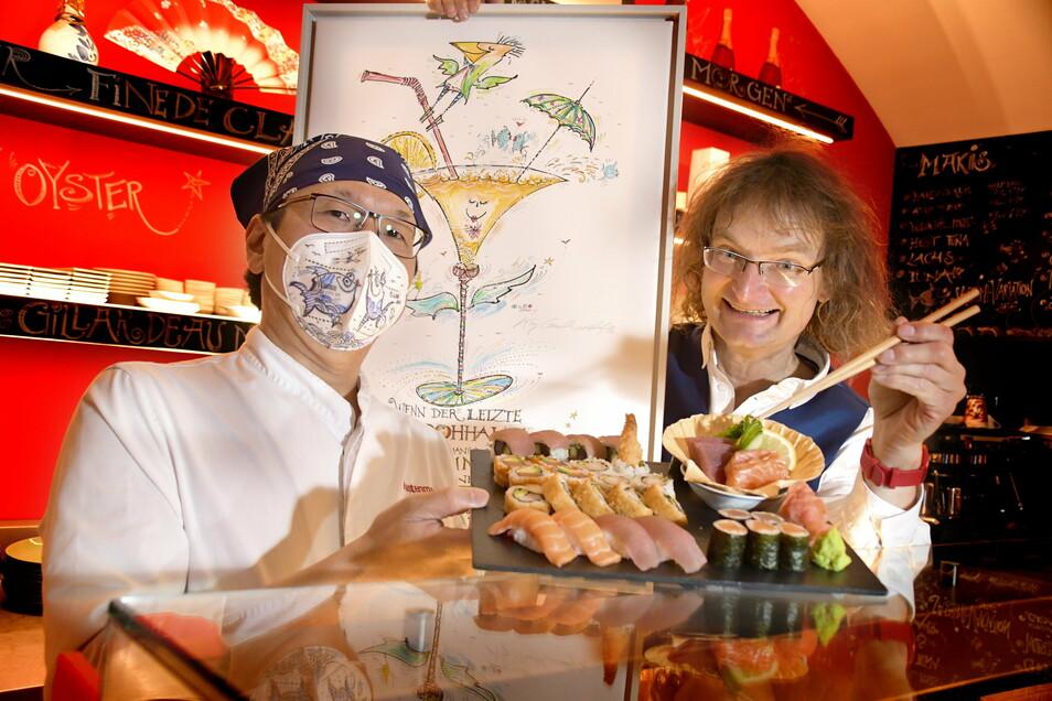 Kay LEO Leonhardt hat eine neue Ausstellung im Kempinski und der japanische Koch Taka kocht wieder in Kastenmeiers Sushibar.