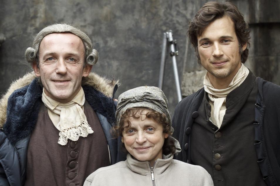 """Drehort Untermarkt und Brauner Hirsch: """"Die Vermessung der Welt"""" wurde hier 2011 gedreht - mit Karl Markovics, Katharina Thalbach und Florian David Fitz (v.l.) als Hauptdarstellern."""