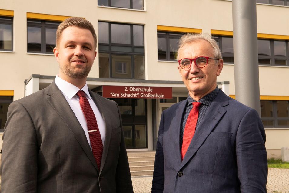 Der neue Schulleiter der Oberschule Am Schacht Marco Weinhold (l.) und sein Vorgänger Axel Hackenberg.