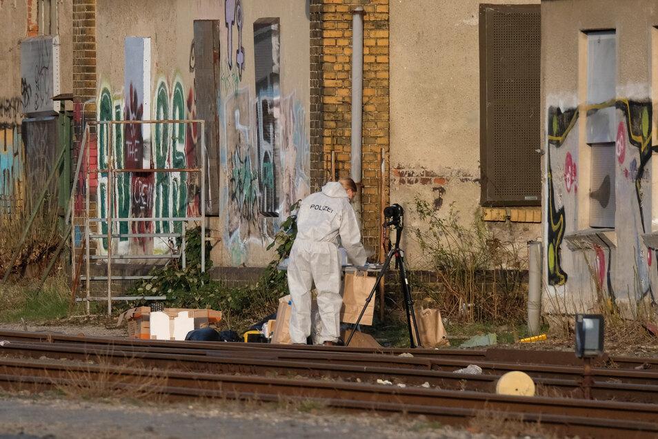 Der Fundort der Leiche in der Nähe des Leipziger Hauptbahnhofs.