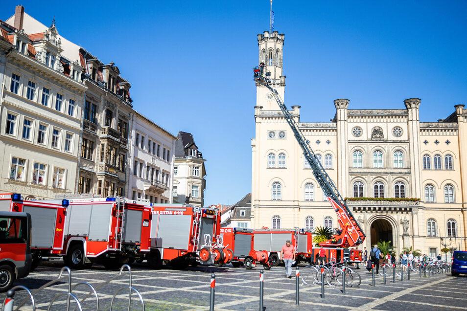 Die Drehleiter der Zittauer Feuerwehr musste am Freitag für einen tierischen Einsatz ausrücken.