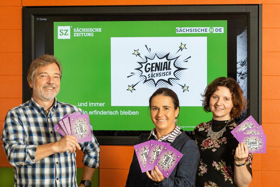"""Stephan Schön, Ines Mallek-Klein und Jana Mundus wurden für Ihre Beiträge der Serie """"Genial Sächsisch"""" ausgezeichnet."""