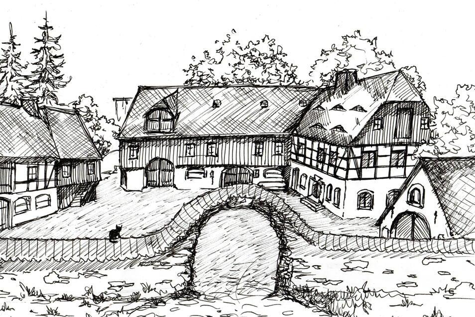 Der Versuch einer zeichnerischen Rekonstruktion des Vorwerks Meuscha, um 1800.