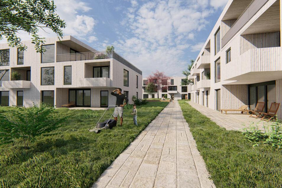 Die Visualisierung der Architekten zeigt, wie die Häuser mit Holzfassade mal aussehen könnten. Insgesamt werden es sechs mit Zwei- bis Vierraumwohnungen sein. Baubeginn könnte in einem Jahr sein.