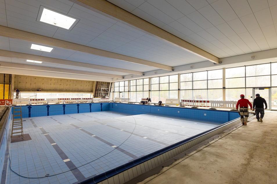 In der neuen Schwimmhalle in Dresden-Prohlis verlegt die Bau Dresden Gruna GmbH rund 5.000 m2 Fliesen, die Fläche eines Fußballfelds. Der Auftragswert: über eine Million Euro.