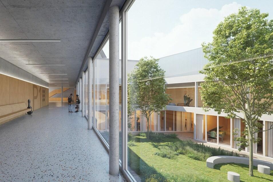 So soll der grüne Innenhof des neuen Komplexes für die Musikhochschule gestaltet werden. In den Räumen um den Hof werden die Musikstudenten proben.