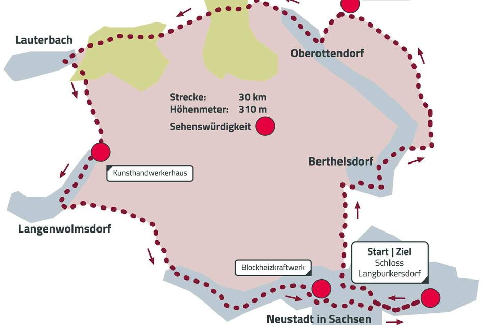 Streckenverlauf der Radtour dieses Mal rund um Neustadt und Stolpen.