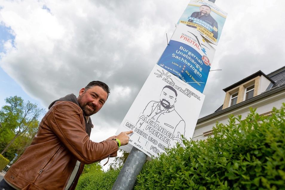 Malen erlaubt: Stadtrat Alexander Frenzel (Freie Wähler) hatte die Idee.