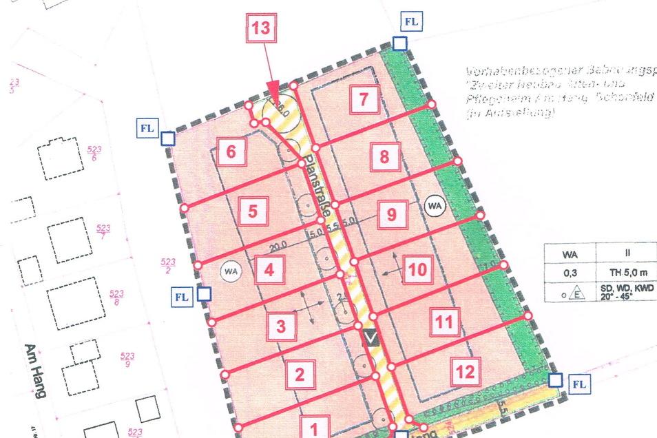 Zwölf Parzellen am östlichen Dorfrand: So könnte die Aufteilung der Grundstücke im neuen Wohngebiet aussehen.