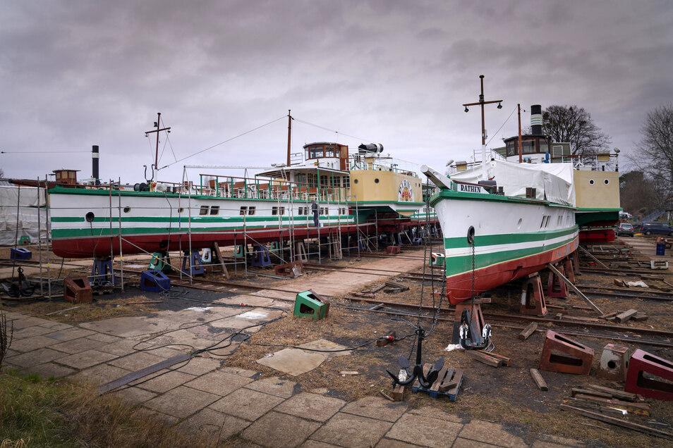 Die Dampfer Pirna und Rathen sollen Ende März fertig werden.