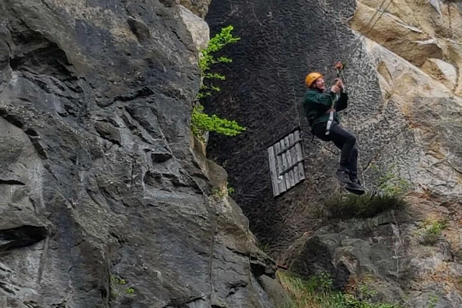 Nur für Mutige: Wer es sich traut, kann am Sonnabend über die Mühlsteinbrüche fliegen.