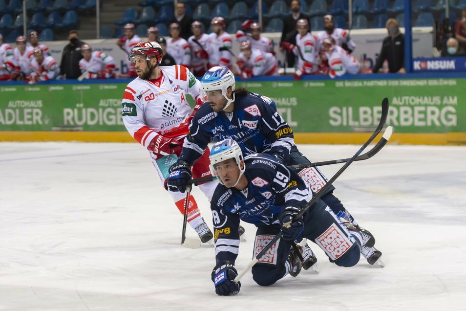 Dresdens Torschütze Evan Trupp (vorn) geht in dieser Szene zu Boden, dahinter sein Mitspieler Toni Ritter. Die Eislöwen verlieren gegen den EC Bad Nauheim.