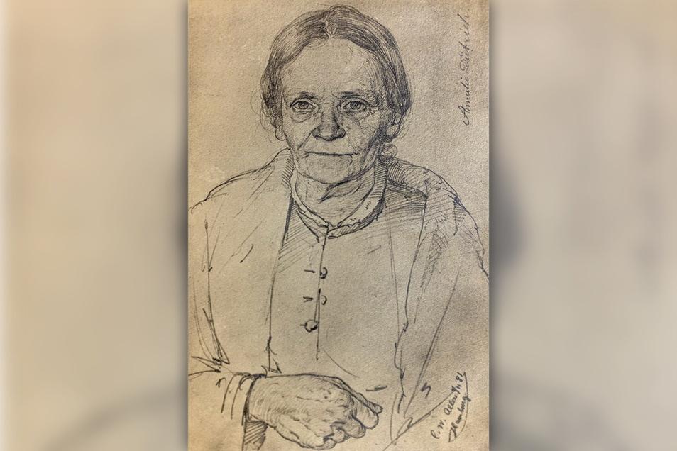 Amalie Dietrich kehrte 1873 nach zehnjährigem Forschungsaufenthalt zurück nach Deutschland. Irgendwann in dieser Zeit entstand diese Zeichnung.