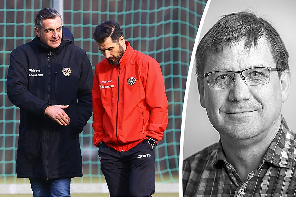 Dynamo hat seinen Cheftrainer verloren, nun richten sich die Augen auf Sportchef Minge (l.). Ein Kommentar von Sven Geisler (r.).
