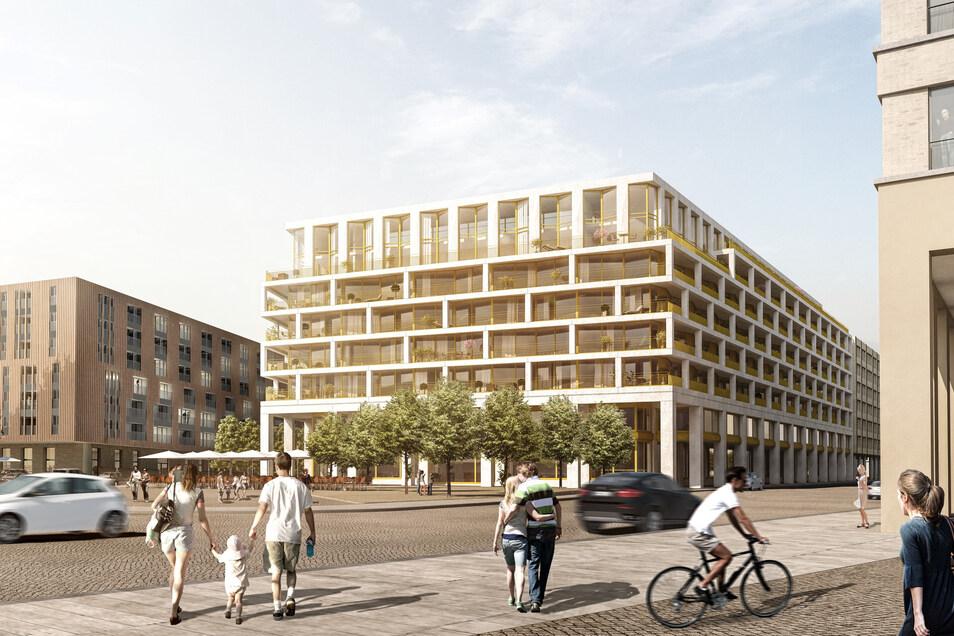 In dem Neubau sind 191 Ein- bis Fünfraumwohnungen geplant.