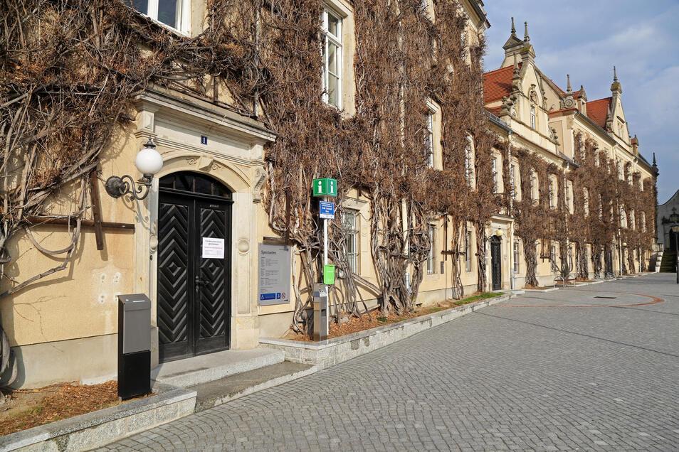 Blick aufs Riesaer Rathaus. Die Stadt verzichtet in diesem Jahr darauf, Gebühren für Aufsteller, Freisitze und Warenauslagen im Außenbereich zu erheben.