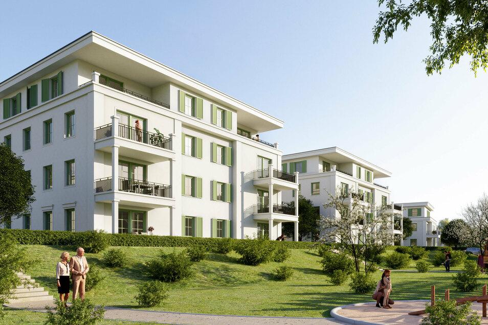 So werden die Häuser in Pirnas neuer Gartenstadt aussehen.