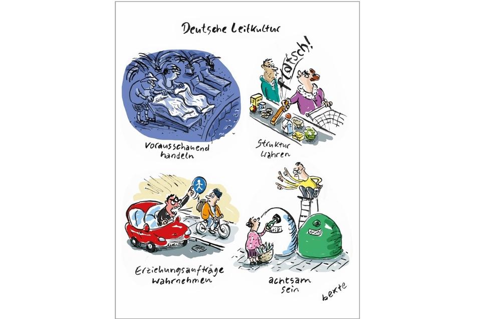 "Bettina Bextes Karikatur ""Deutsche Leitkultur"" gewinnt den Publikumspreis."