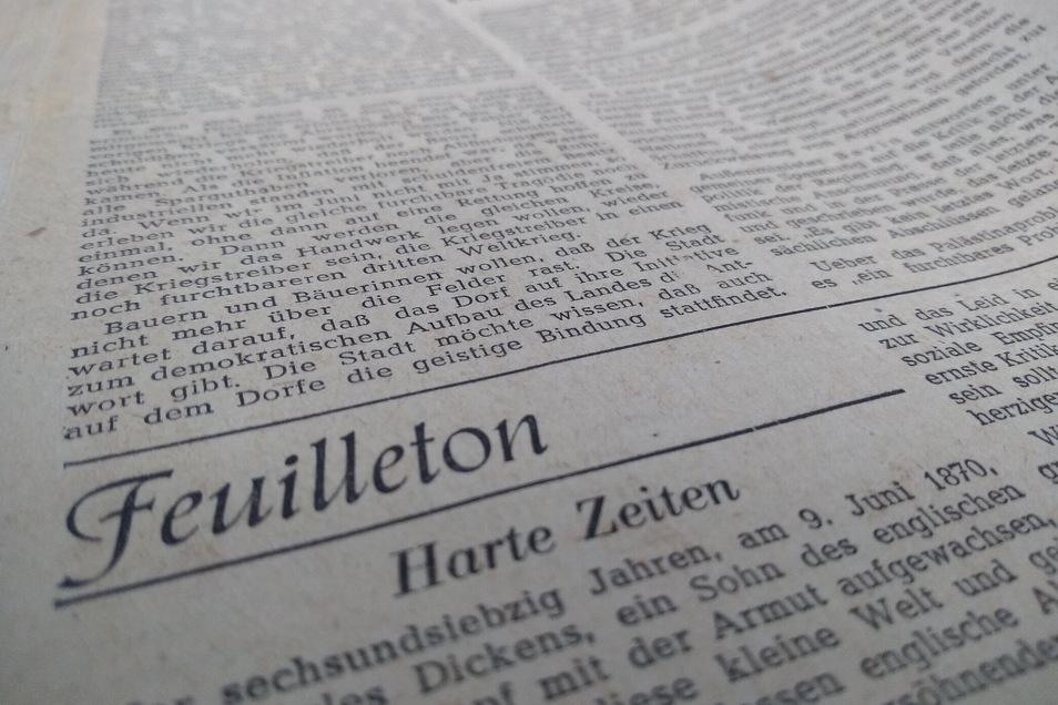"""Schon im Gründungsjahr der Sächsischen Zeitung hieß der Kulturteil """"Feuilleton"""", hier ein Ausschnitt vom 14. Juni 1946. Die Zeiten waren zum Glück nicht immer nur hart."""