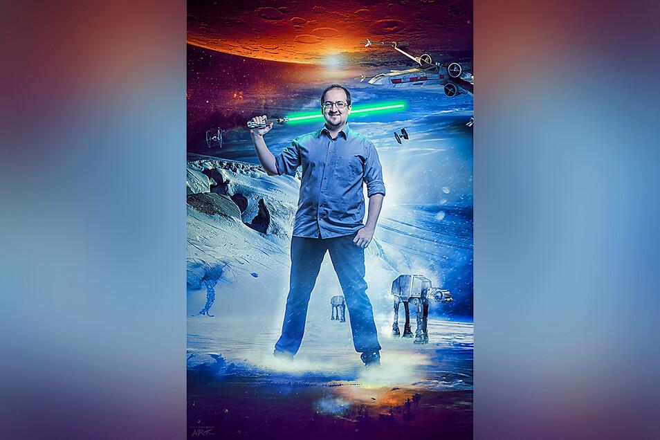 Kaum zu übersehen: Sascha Vogel ist Star-Wars-Experte aus Leidenschafft. Zum Star-Wars-Tag am 4. Mai klärt er auf, welche Science-Fiction mittlerweile realistisch ist.