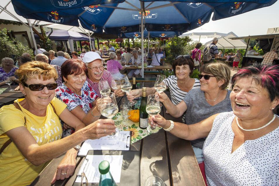 Mit einem Glas Scheurebe stoßen Gabriele Schütze und ihre Freunde beim Tag des offenen Weinguts im Garten des Weingutes Matyas in Coswig an.