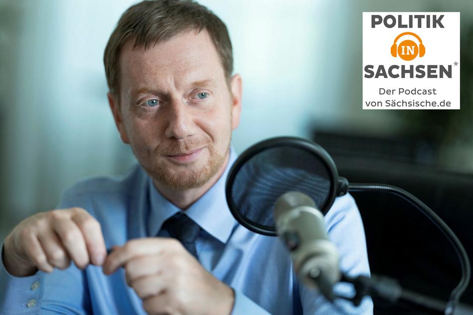 Sachsens Ministerpräsident zu Gast im Podcast Politik in Sachsen.