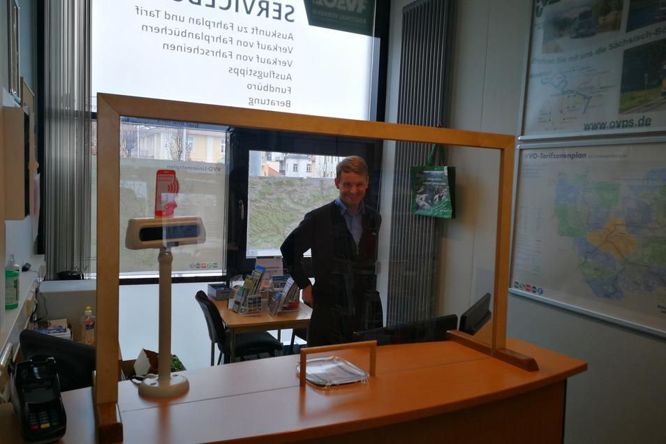 Im Service-Büro des RVSOE in Pirna gibt es jetzt einen Schutz.