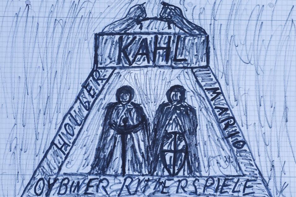 So sieht der Entwurf von Holzschnitzer Günter Schönfelder aus: Zwei Ritter - Mario und Holger Kahl - sind der Mittelpunkt.